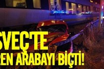 İsveç'te tren arabayla çarptı
