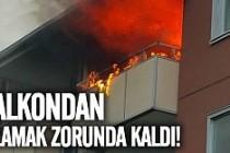 Märsta'da alevlerin arasında kalan adam balkondan atladı!