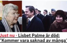 Efsane Başbakan Olof Palme'nin eşi öldü