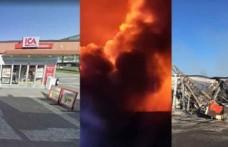 ICA marketi çıkan yangında kül oldu