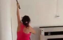 Temizlik yapan kadın eli yetişemeyince?