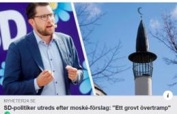 İsveç'te cami yapılmasını isteyen göçmen karşıtı SD geri adım attı