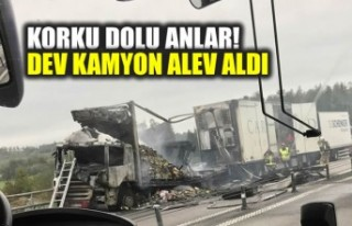 İsveç'te dev kamyon seyir halinde alev alınca!