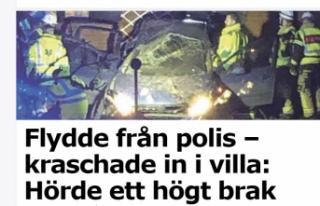 Polisten kaçan araç Skärholmen'de villaya...