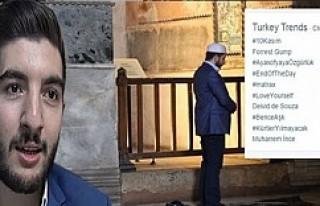 Ayasofya'da namaz kıldı, sosyal medyayı salladı!