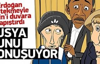 Erdoğan Putin'i tekmeyle duvara yapıştırdı