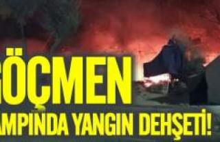 Göçmen kampında yangın dehşeti
