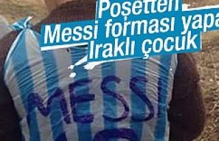Iraklı çocuk poşetten Messi forması yaptı