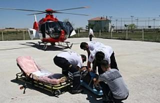 Kulu'da Kalp Krizi Geçiren Kişiye Helikopter Ambulans
