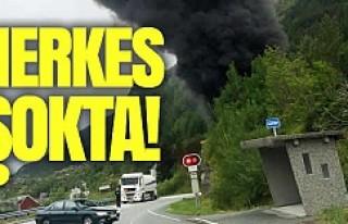 Norveç'te Facia! Benzin yüklü tanker tünele...