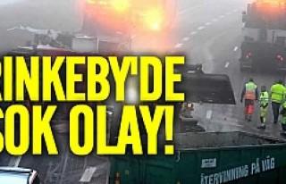 Rinkeby'de kamyon devrildi ne var ne yoksa yola...