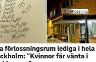 Stockholm'de doğum yapacak kadınlar koridorlarda...