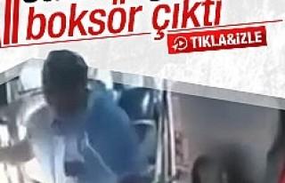 Yolcunun saldırdığı şoför boksör çıktı
