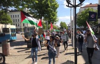 İsveç'de Filistin protestosu! İsrail karşıtı sloganlar attılar