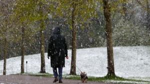 Stockholm'de lapa lapa kar yağdı
