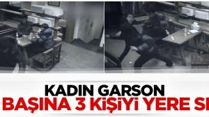 Kadın garson olay çıkaran 3 müşteriyi fena dövdü...VİDEO