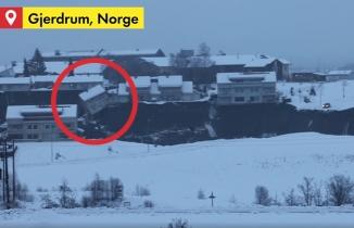 Norveç'teki toprak kaymasında evlerin çöküşü böyle görüntülendi